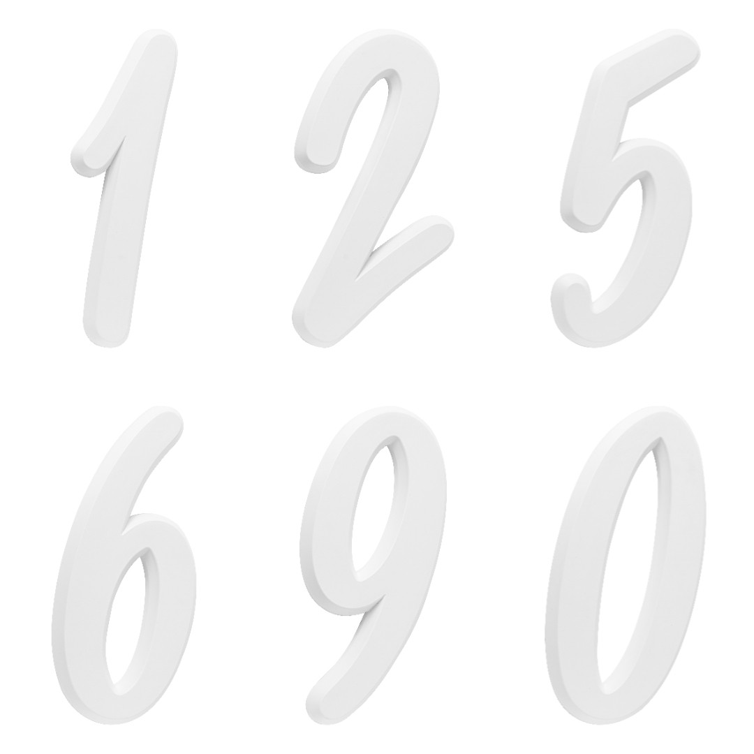 Kit 3 Números Residencial Para Casa Branco 3D 22cm