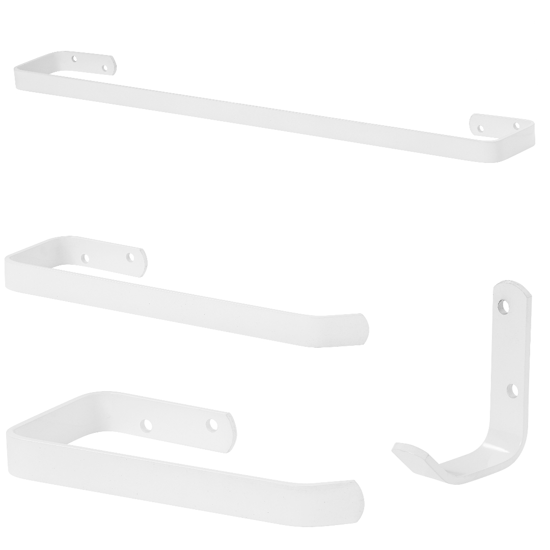 Kit Acessórios Para Banheiro Branco 4 Peças