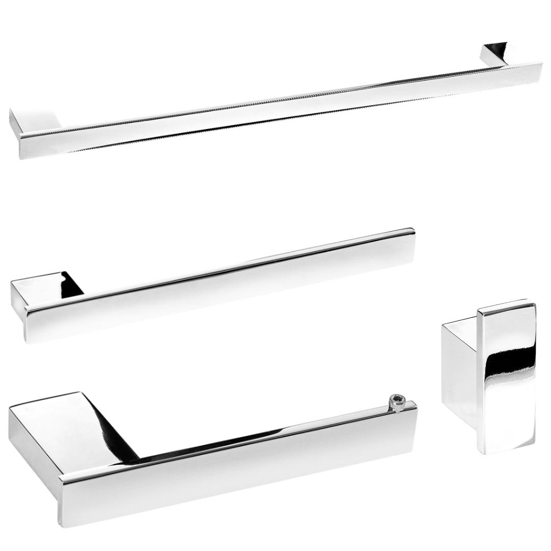 Kit De Acessórios Para Banheiro Cromado Master 4 Peças