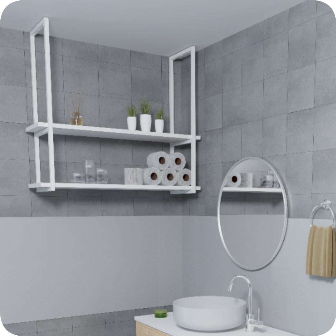 Nicho Branco Prateleira Suspensa Teto Banheiro Branca 100cm