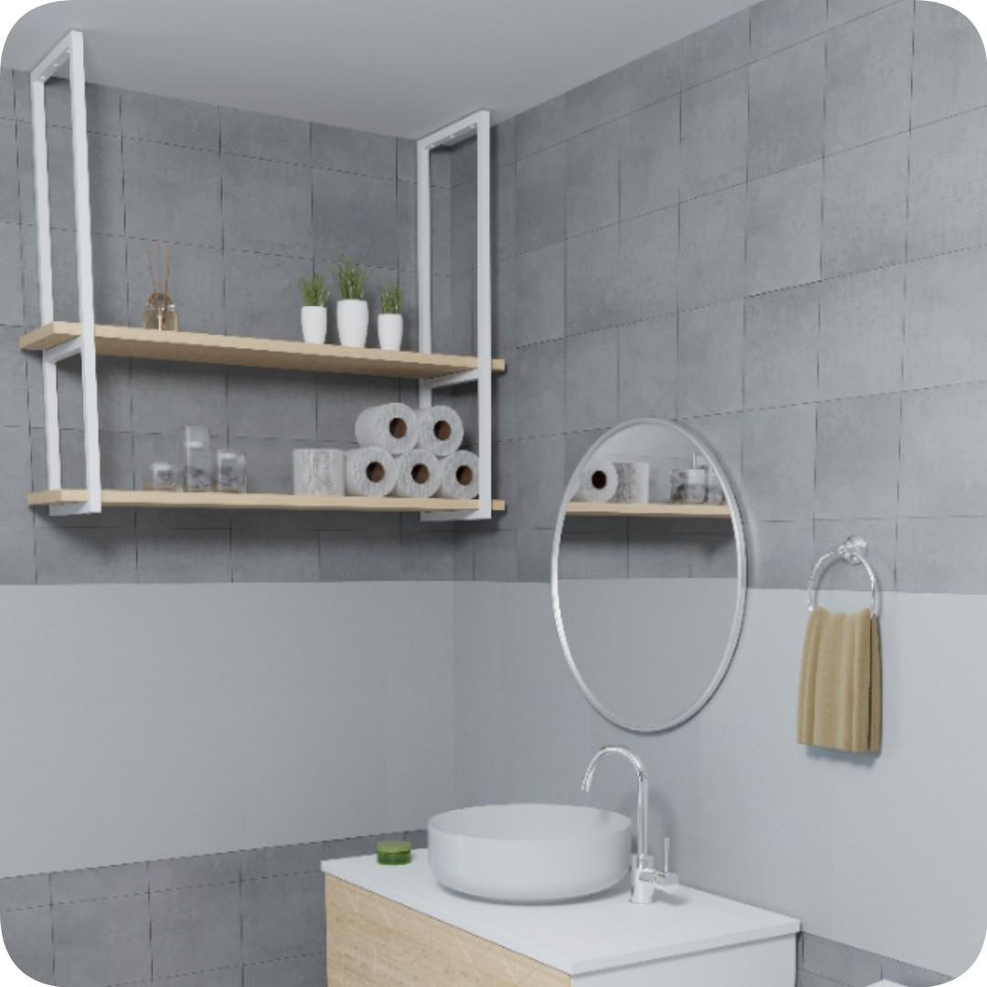 Nicho Branco Prateleira Suspensa Teto Banheiro Madeira 60cm