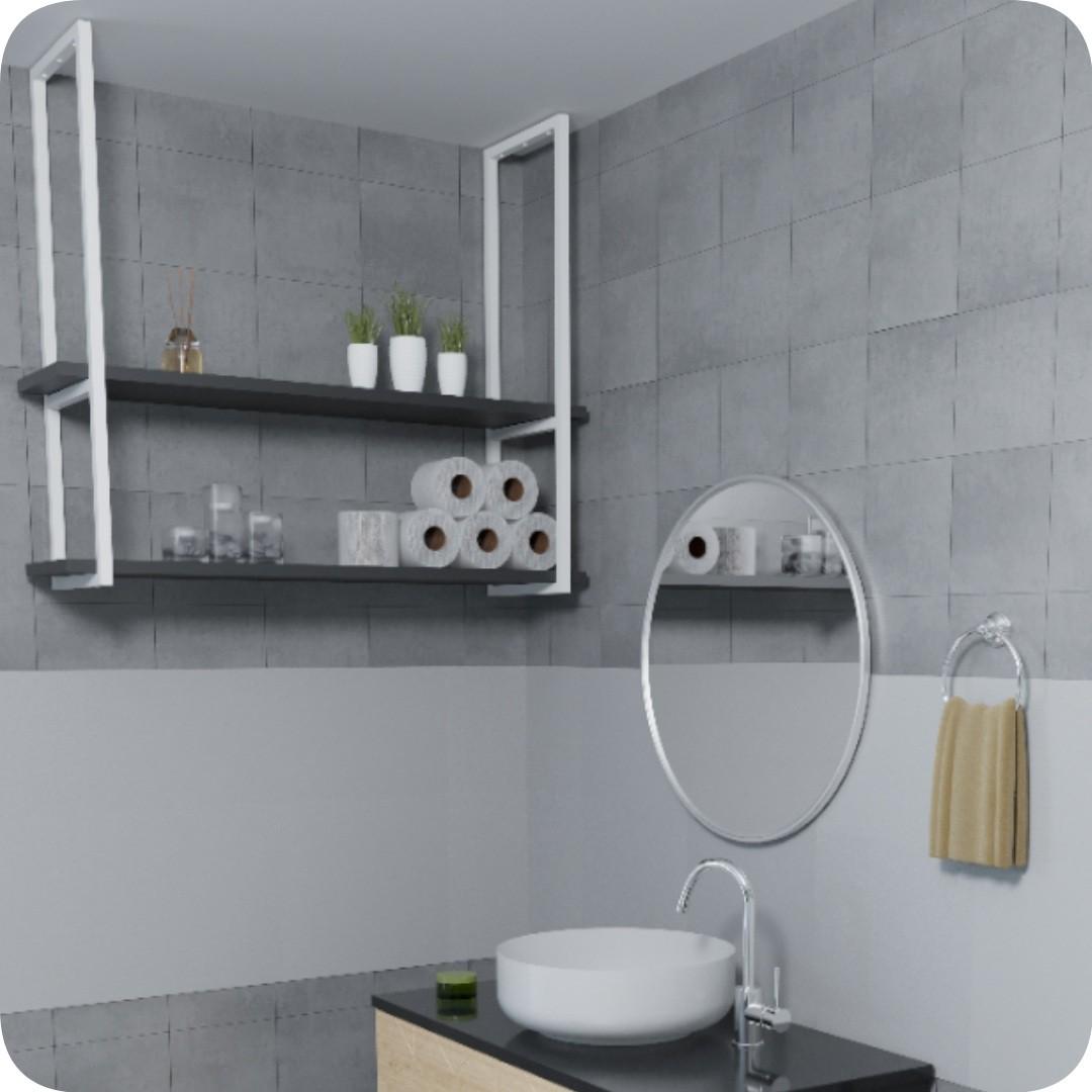 Nicho Branco Prateleira Suspensa Teto Banheiro Preta 1.20mt