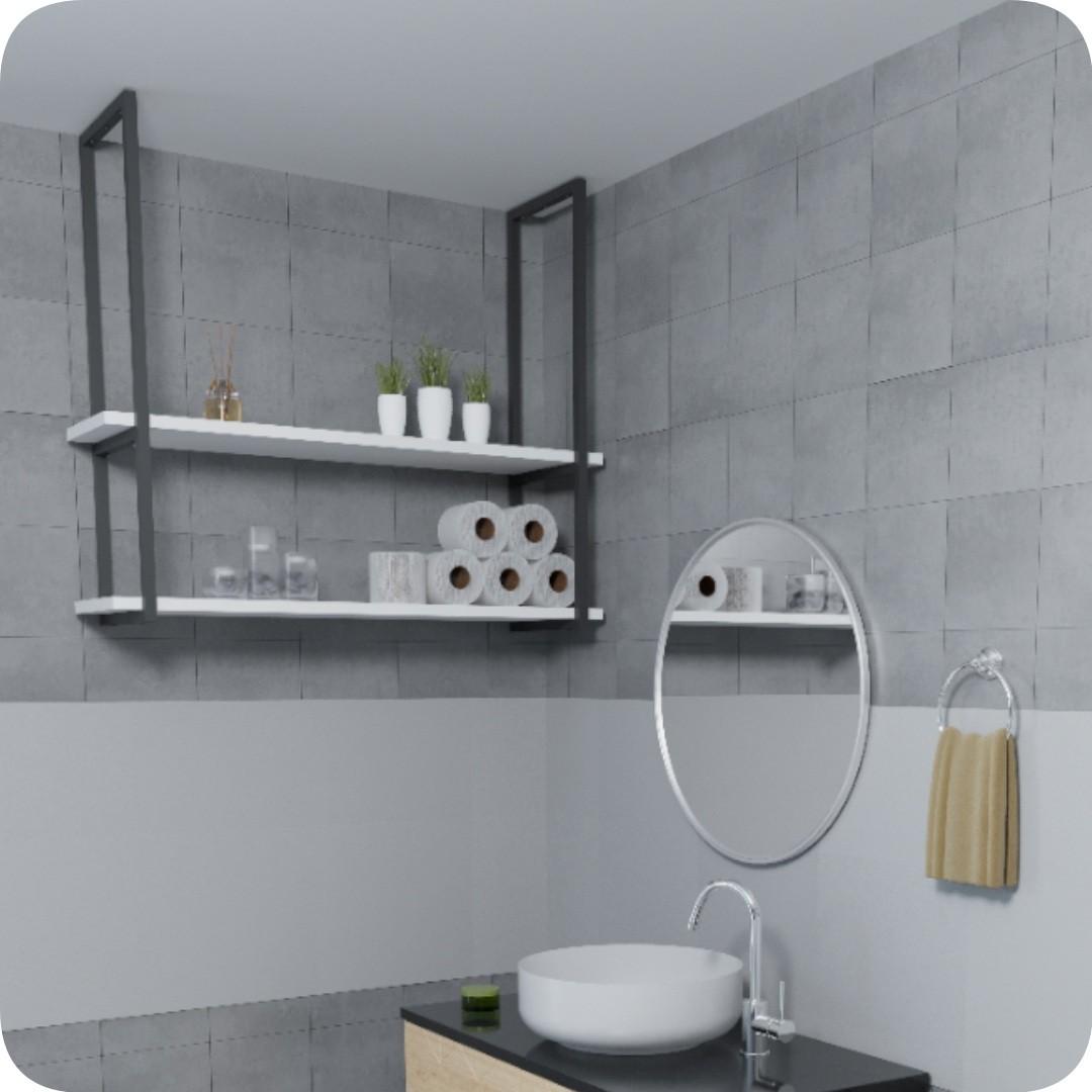 Nicho Preto Prateleira Suspensa Teto Banheiro Branca 80cm
