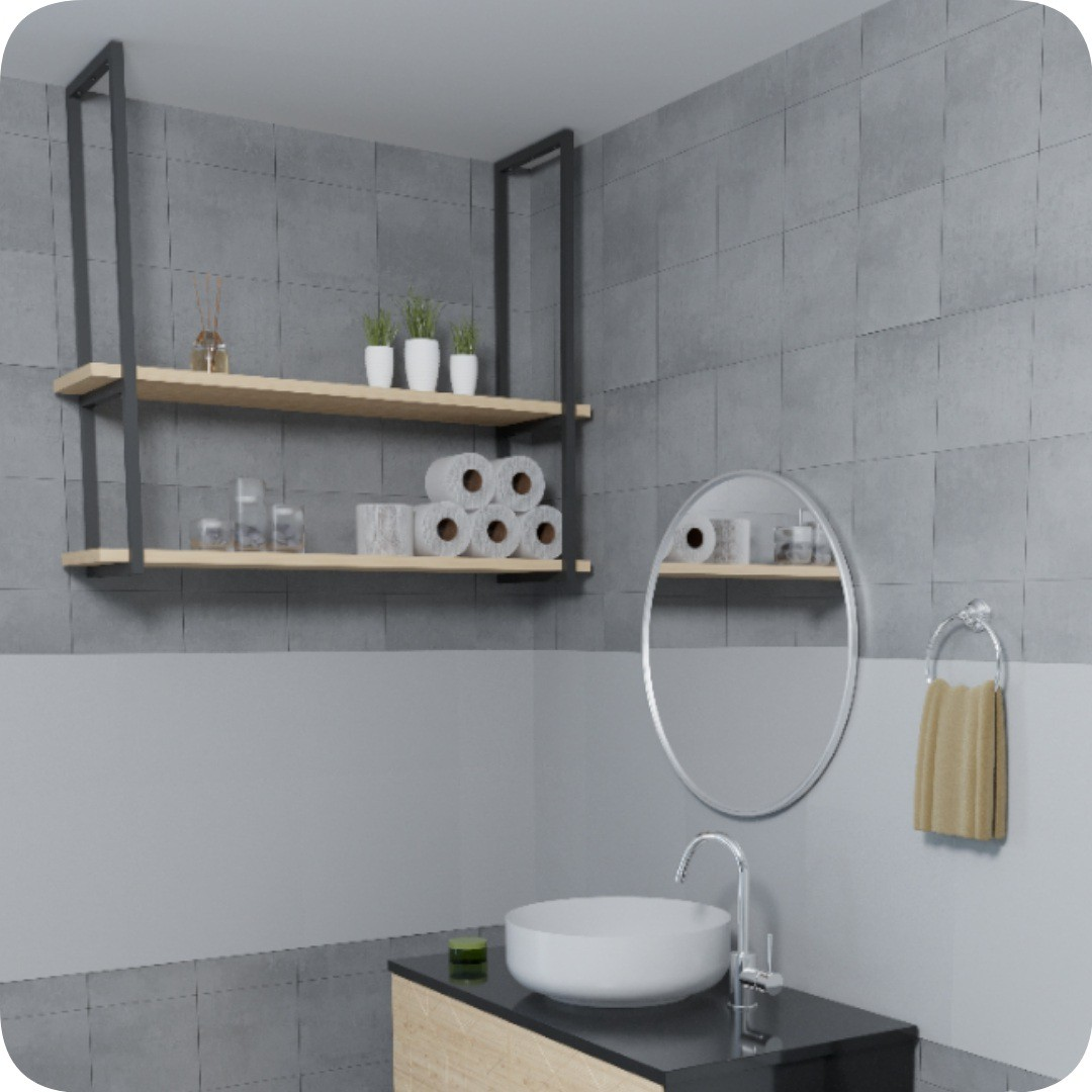 Nicho Preto Prateleira Suspensa Teto Banheiro madeira 100cm
