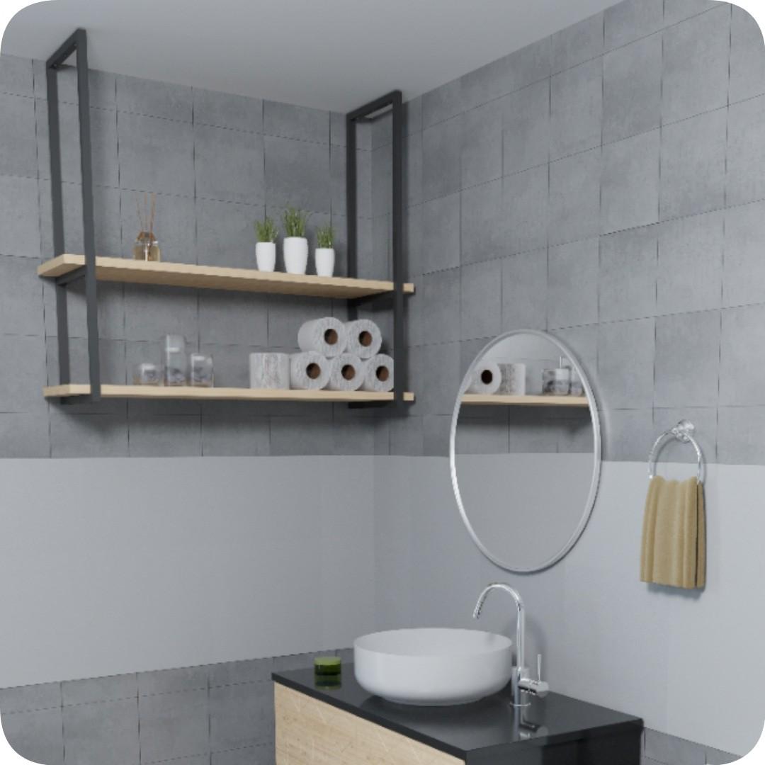 Nicho Preto Prateleira Suspensa Teto Banheiro Madeirado 60cm