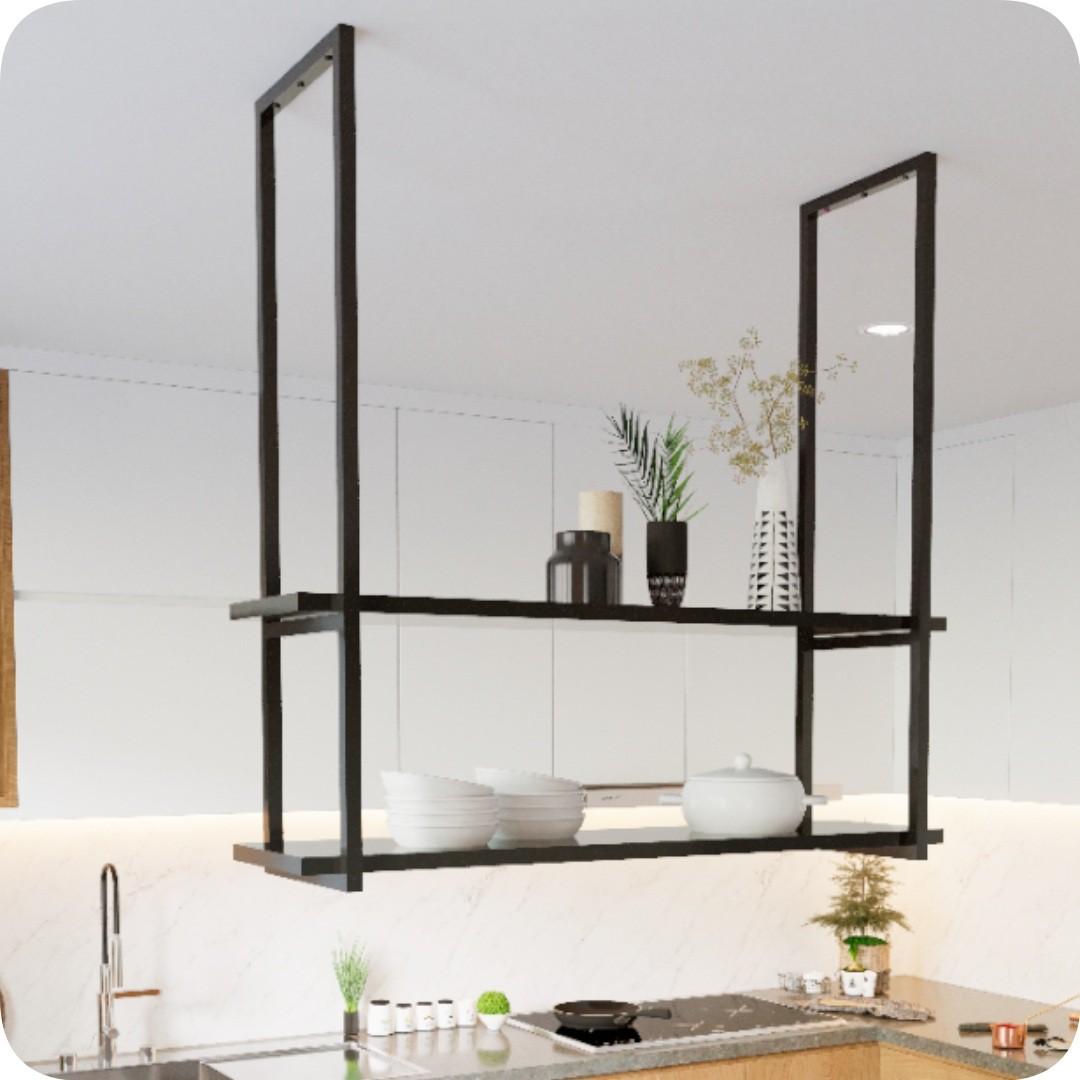 Nicho Preto Prateleira Suspensa Teto Cozinha Preta 80cm
