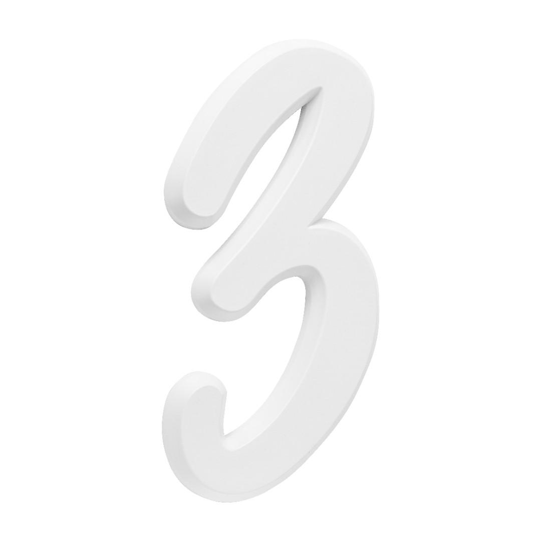 Número Residencial Para Casa 3 Branco 3D 22cm