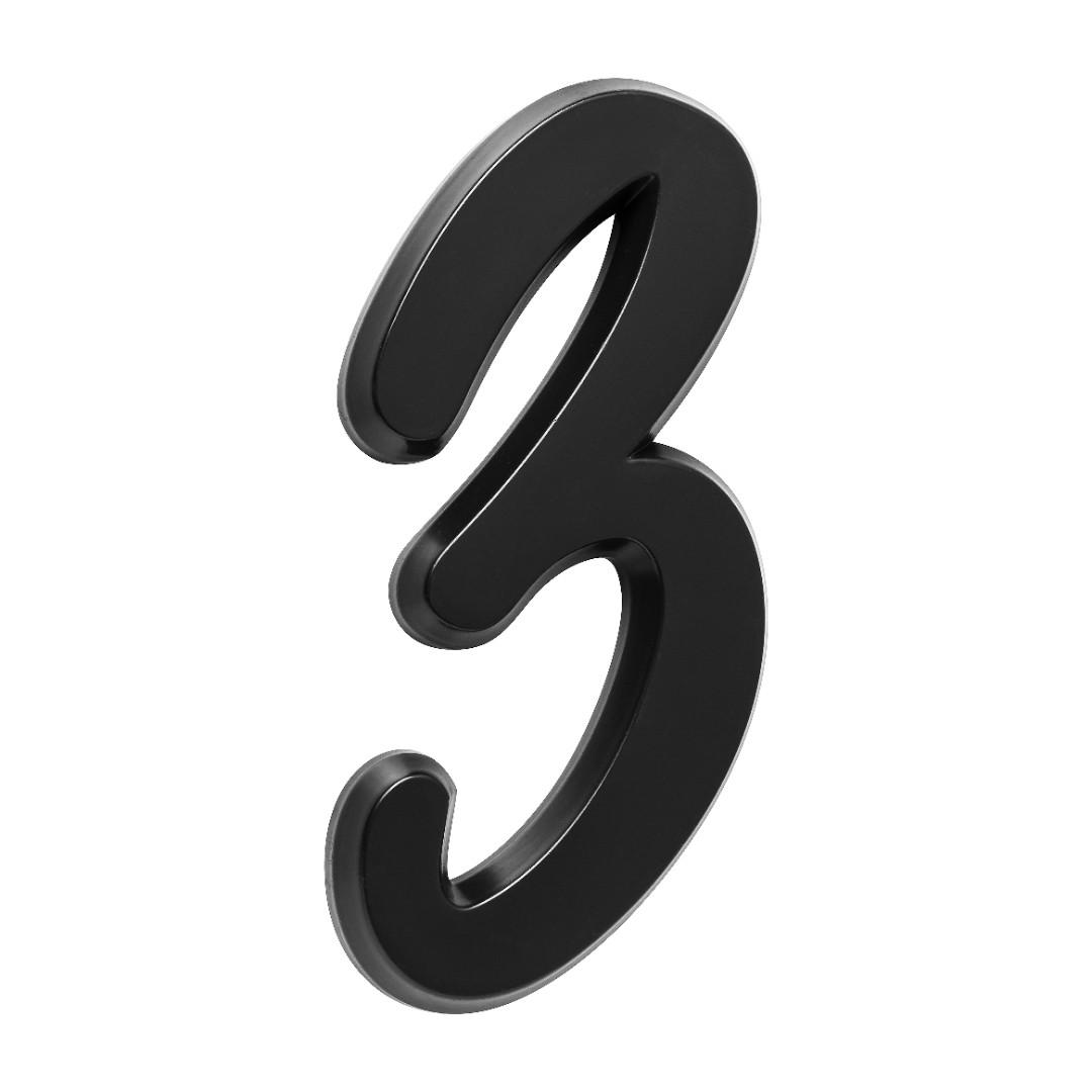 Número Residencial Para Casa 3 Preto 3D 22cm