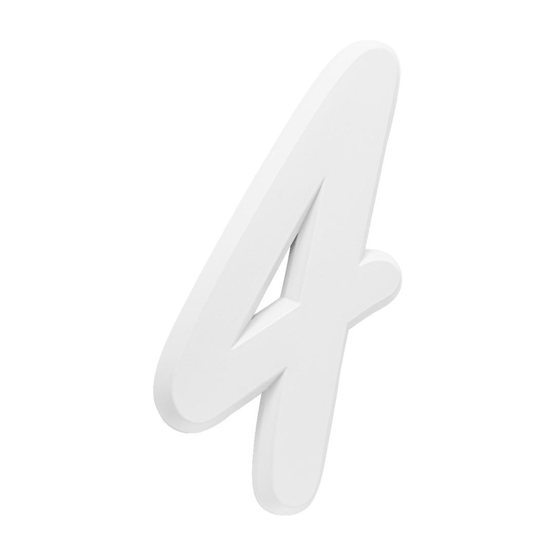 Número Residencial Para Casa 4 Branco 3D 22cm
