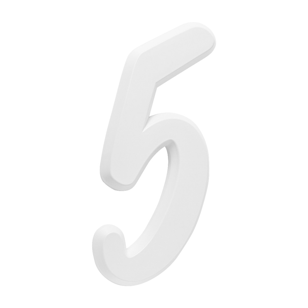 Número Residencial Para Casa 5 Branco 3D 22cm