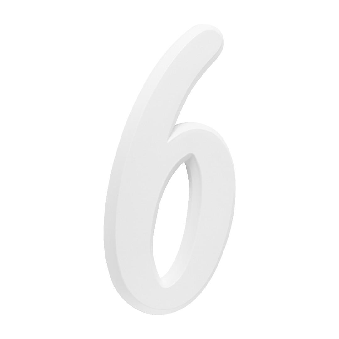 Número Residencial Para Casa 6 Branco 3D 22cm