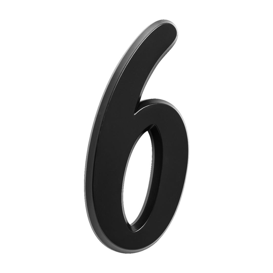 Número Residencial Para Casa 6 Preto 3D 22cm