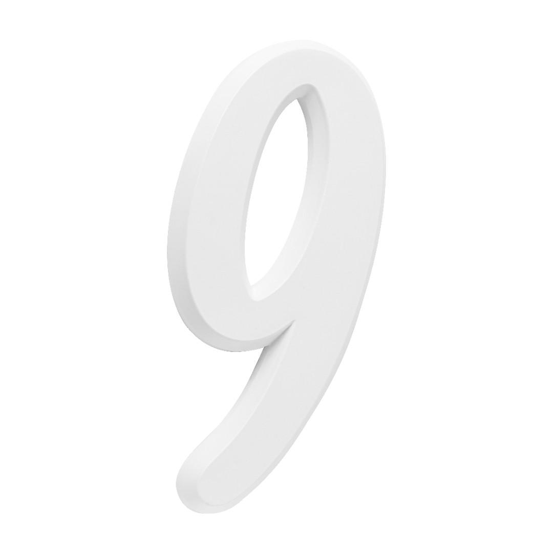 Número Residencial Para Casa 9 Branco 3D 22cm