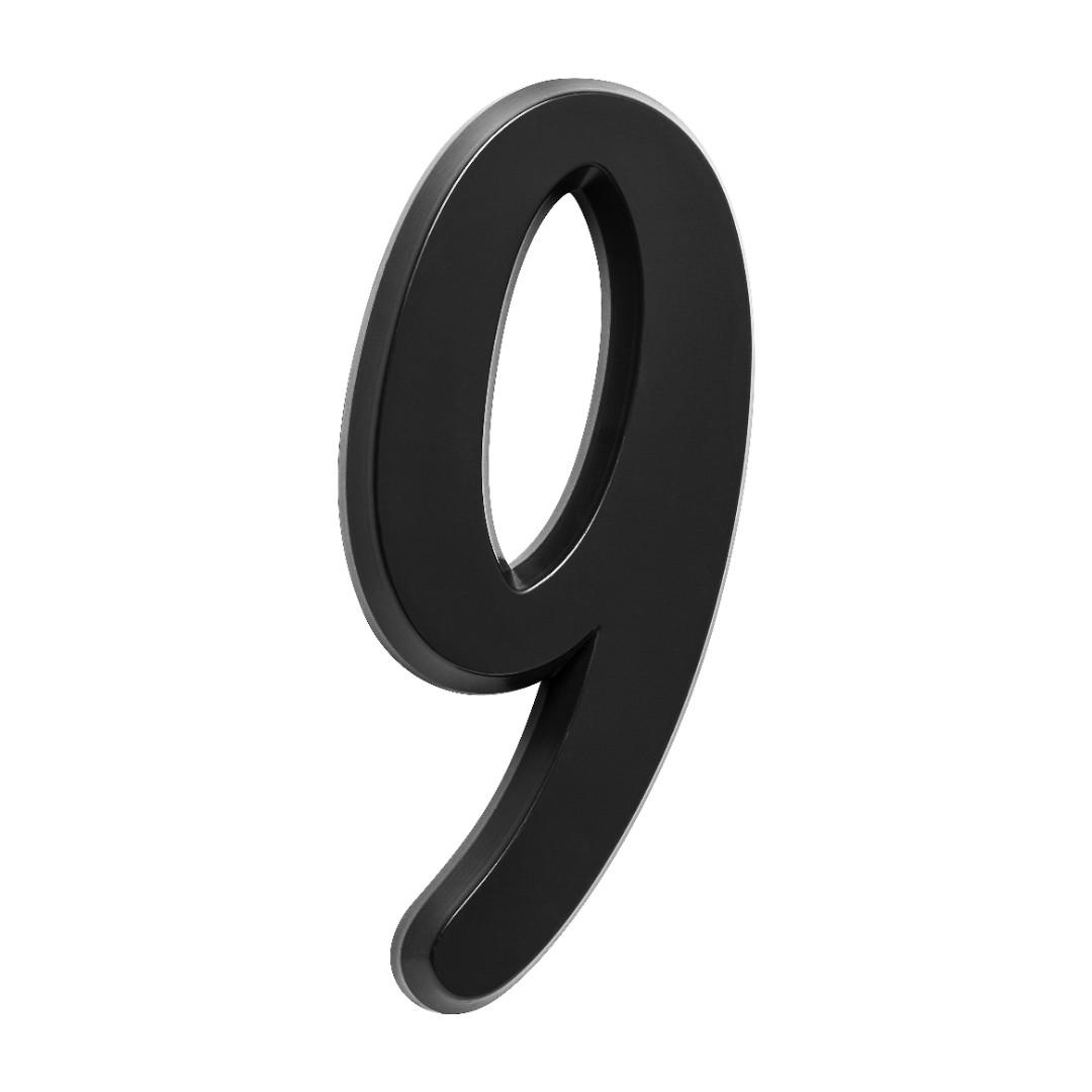 Número Residencial Para Casa 9 Preto 3D 22cm