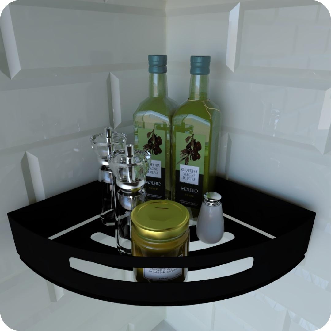 Porta Temperos e Condimentos de Parede Preto Fosco Multiuso