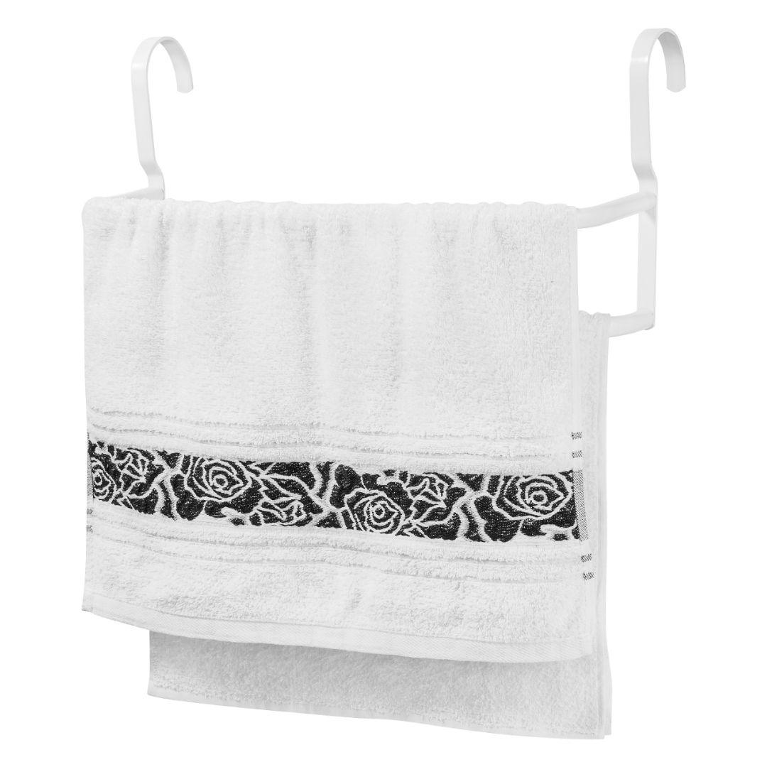 Porta Toalhas Duplo Toalheiro Para Box Branco 60cm