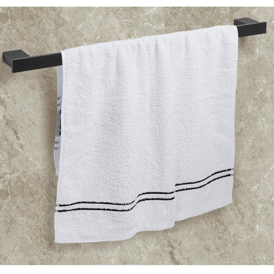 Porta Toalhas Para Banho Master Preto Fosco 60cm