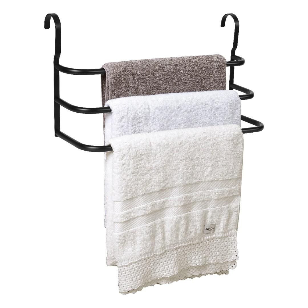 Porta Toalhas Triplo Toalheiro Para Box Preto Fosco 60cm