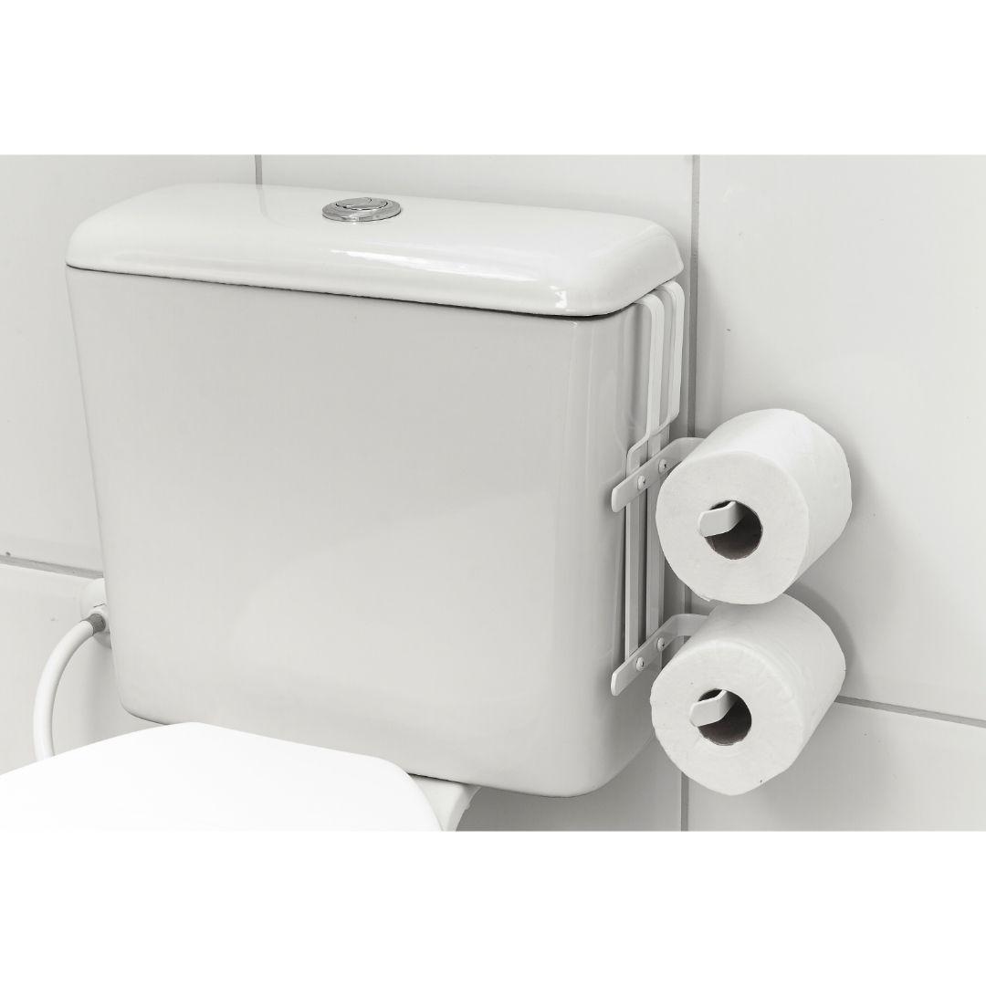 Suporte Porta Papel Higiênico Duplo P/ Caixa Acoplada Branco