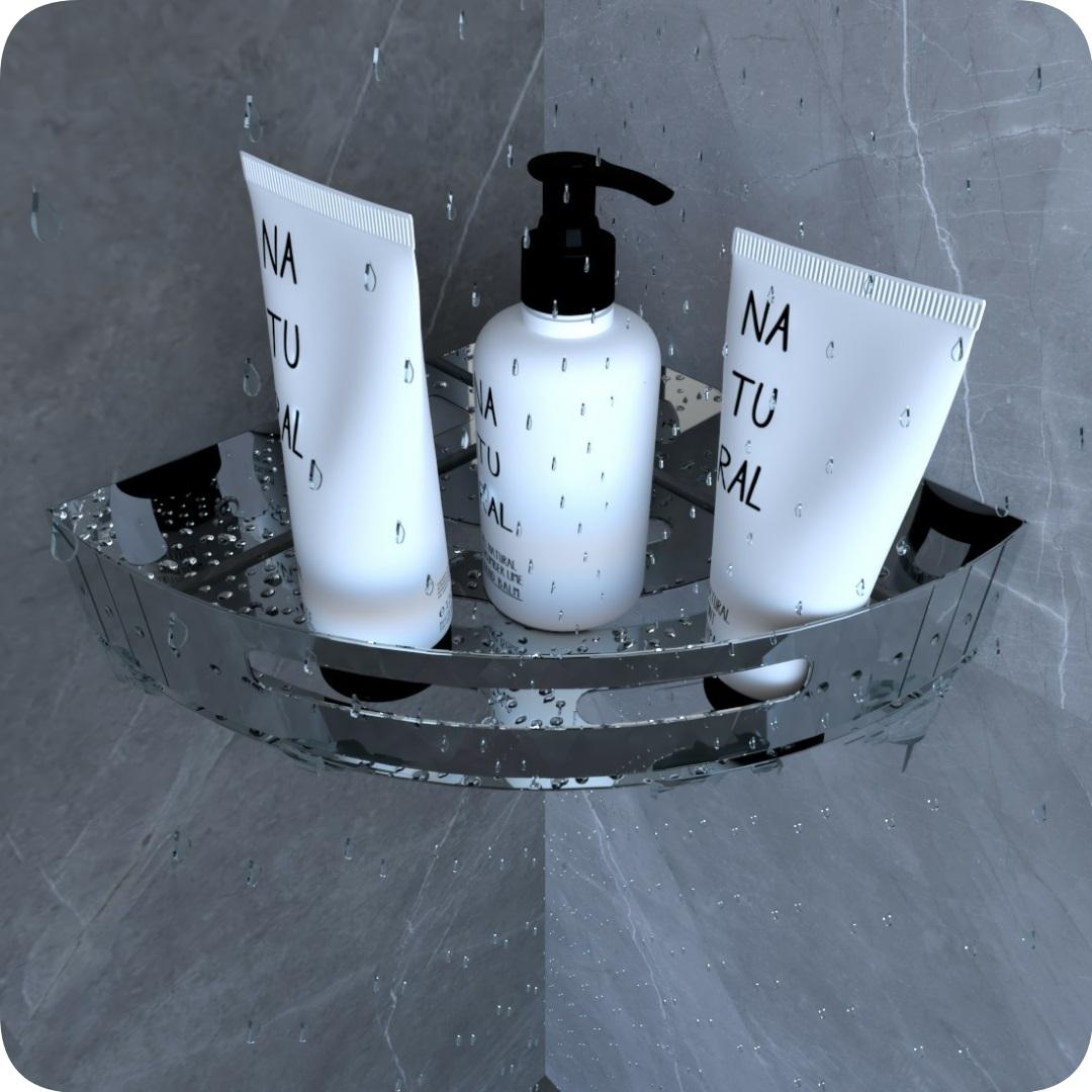 Suporte Porta Shampoo Para Banheiro De Canto Inox Brilhante