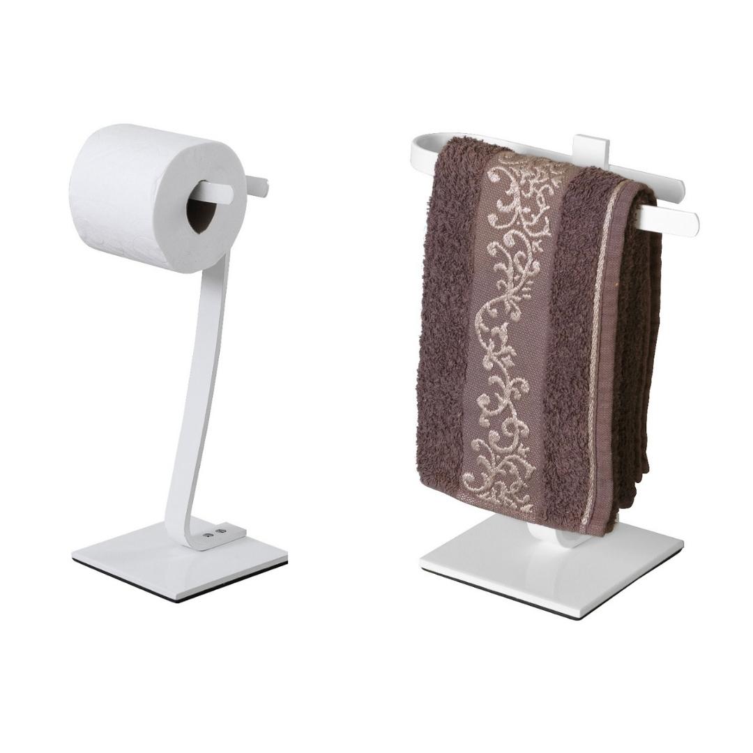 Toalheiro De Bancada E Porta Papel Higiênico De Chão Branco