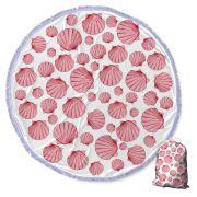 Canga Saida de Praia Redonda com Franja - Conchas Rosa Pink 1,5m-CG-0096