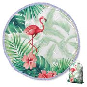 Canga Saida de Praia Redonda com Franja - Flamingo Branco 1,5m-CG-0071