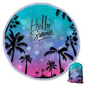 Canga Saida de Praia Redonda com Franja - Hello Summer 1,5m CG-0054