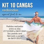 KIT 10 CANGAS REDONDAS PERSONALIZADAS 1,5 DE DIÂMETRO FINAL DE ANO