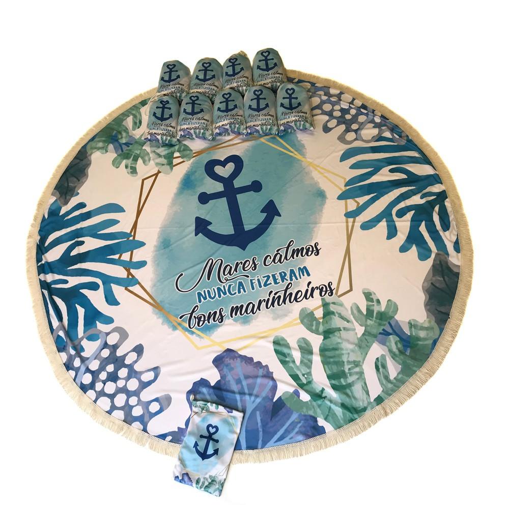 Canga Saida de Praia Redonda com Franja - Coral Azul  1,5m-CG-0111