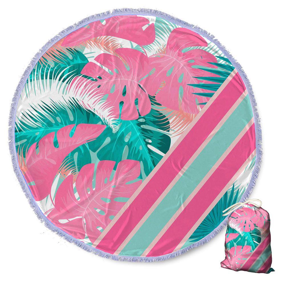 Canga Saida de Praia Redonda com Franja - Costela de Adão Rosa Pink 1,5m-CG-0097