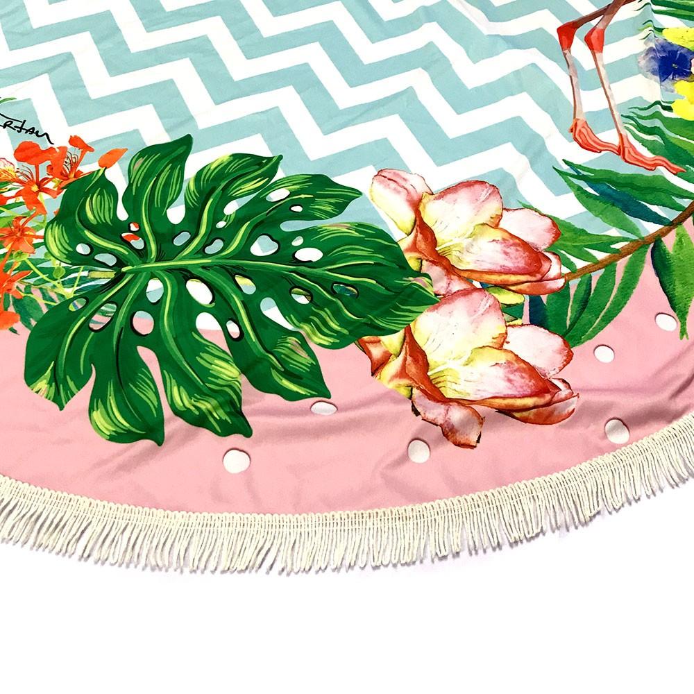 Canga Saida de Praia Redonda com Franja Infantil- Flamingo Borda Rosa 1m CG-0038