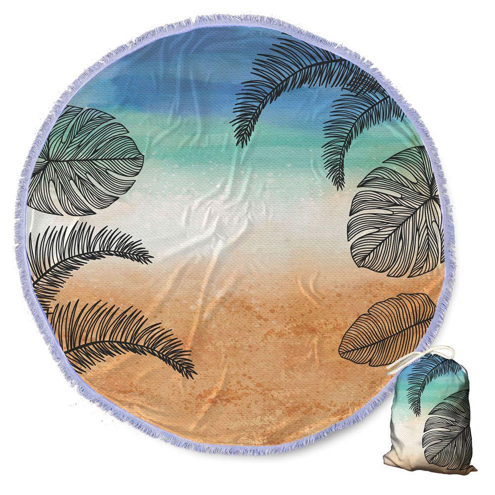 Canga Saida de Praia Redonda com Franja - Folhagem Tropical Praia 1,5m CG-0109