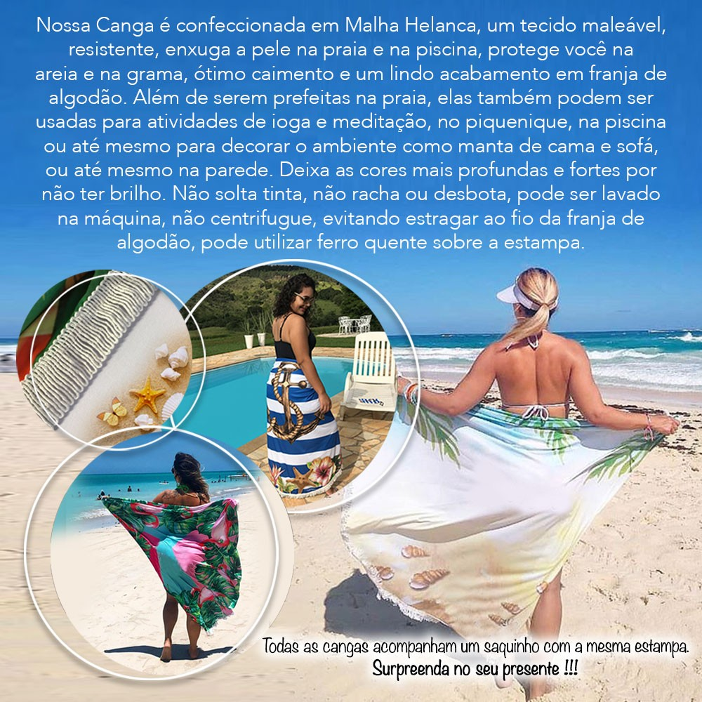 Canga Saida de Praia Redonda com Franja - Tartaruga Corais 1,5m CG-0060