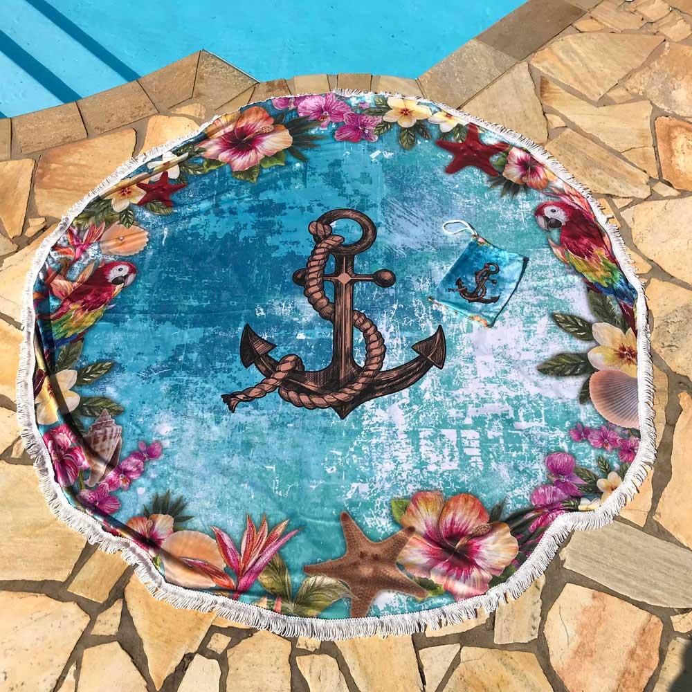 Canga Saida de Praia Redonda com Franja - Textura Azul com Ancora 1,5m CG-0044