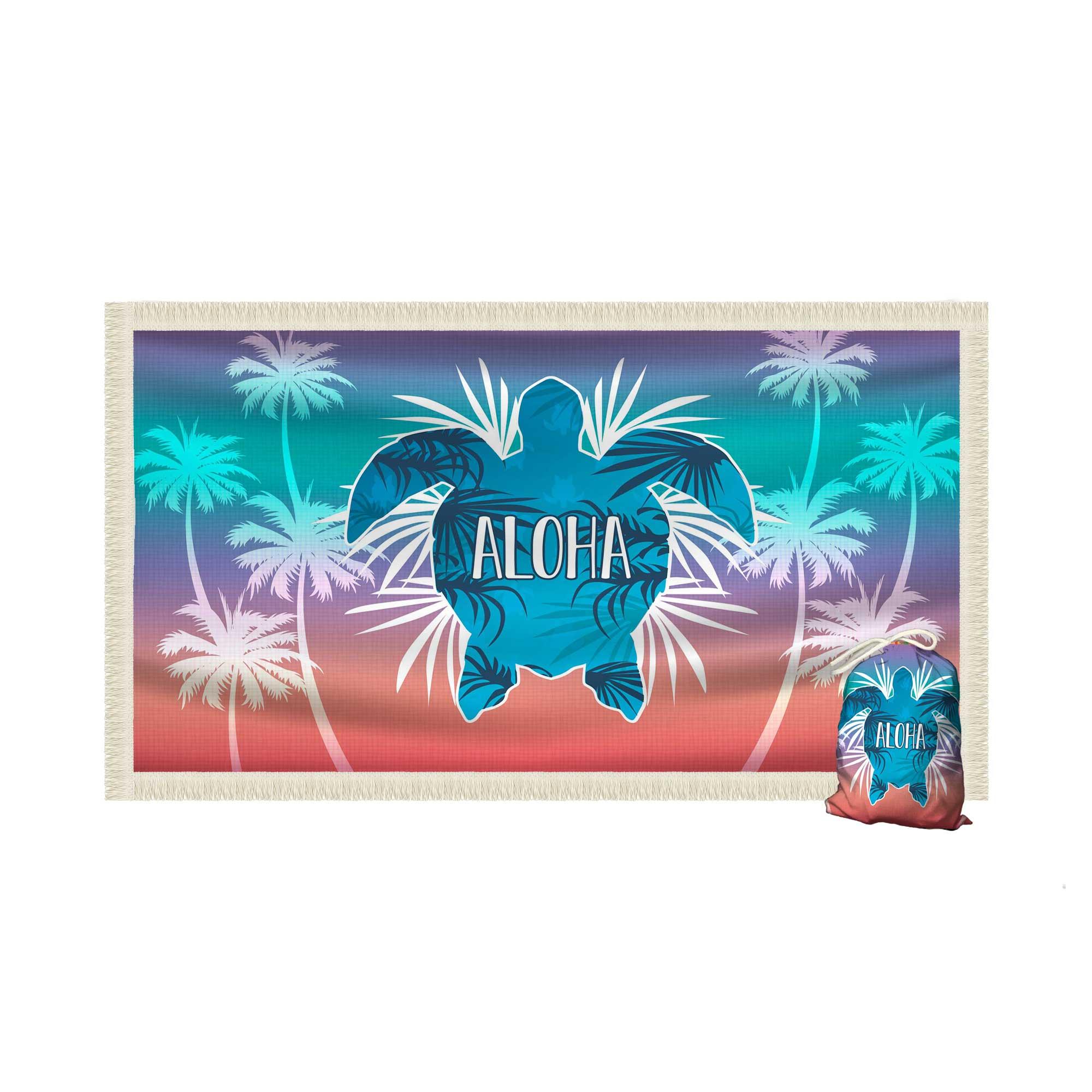 Canga Saida de Praia Retangular com Franja - Aloha Frase Agua Salgada 1,5 x 1m-CGR-0080A