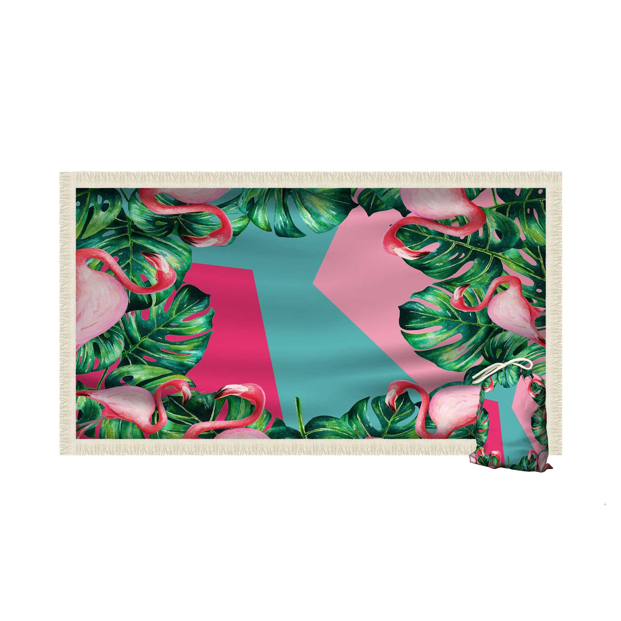 Canga Saida de Praia Retangular com Franja - Flamingo Folhas de Adao 1,5 x 1m-CGR-0002