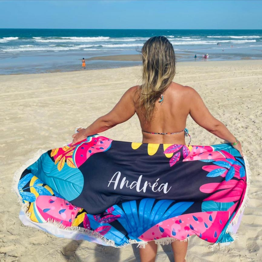 Canga Saida de Praia Retangular com Franja - Melancia 1,5 x 1m