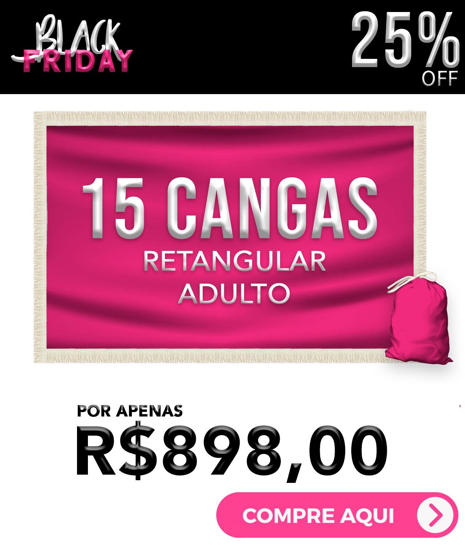 KIT 15 CANGAS RETANGULAR PERSONALIZADAS 1,5 DE DIÂMETRO BLACK FRIDAY
