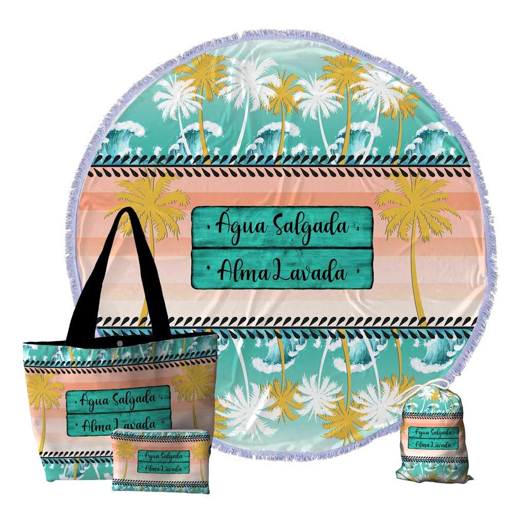 6 Kits Praia, Bolsa, Canga redonda e Necessaire 0094-ALMA-SALGADA-ALMA-LAVADA