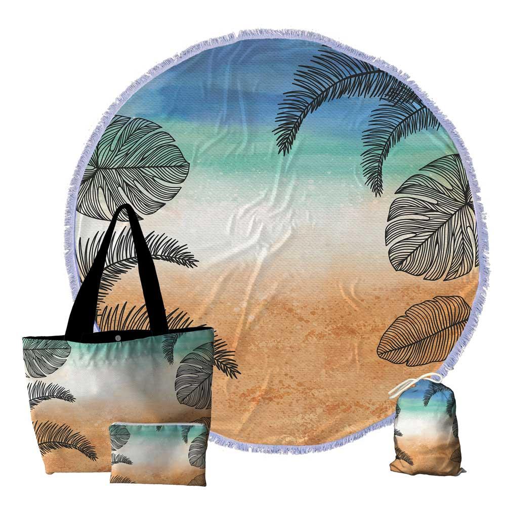 6 Kits Praia, Bolsa, Canga redonda e Necessaire 0109-FOLHAGEM-TROPICAL-PRAIA
