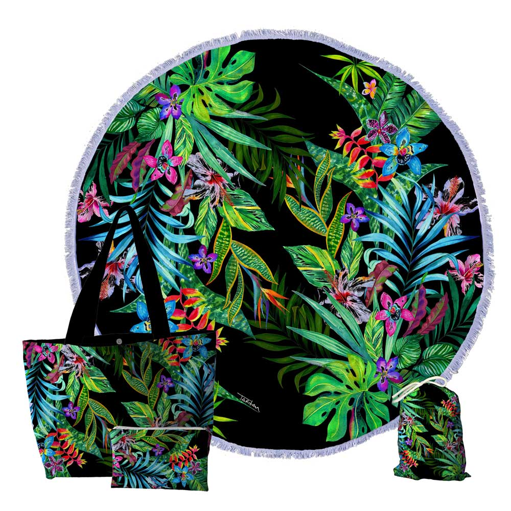 Kit Praia, Bolsa, Canga redonda e Necessaire TROPICAL-BLACK-KIT-CG0013