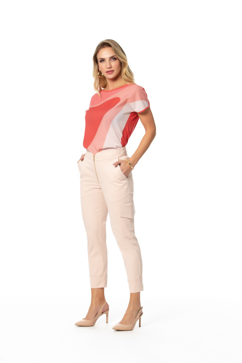 Blusa Vis Up Light com Crepe Chiffon Gatos e Atos