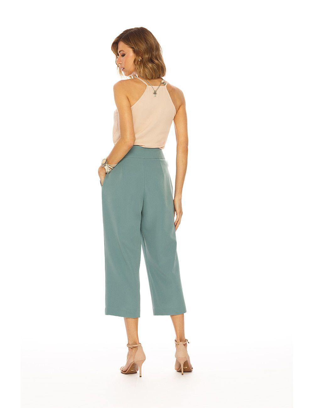 Calça Alfaiataria Pantalona Cropped c/ Elast. Cós Alto Gatos e Atos
