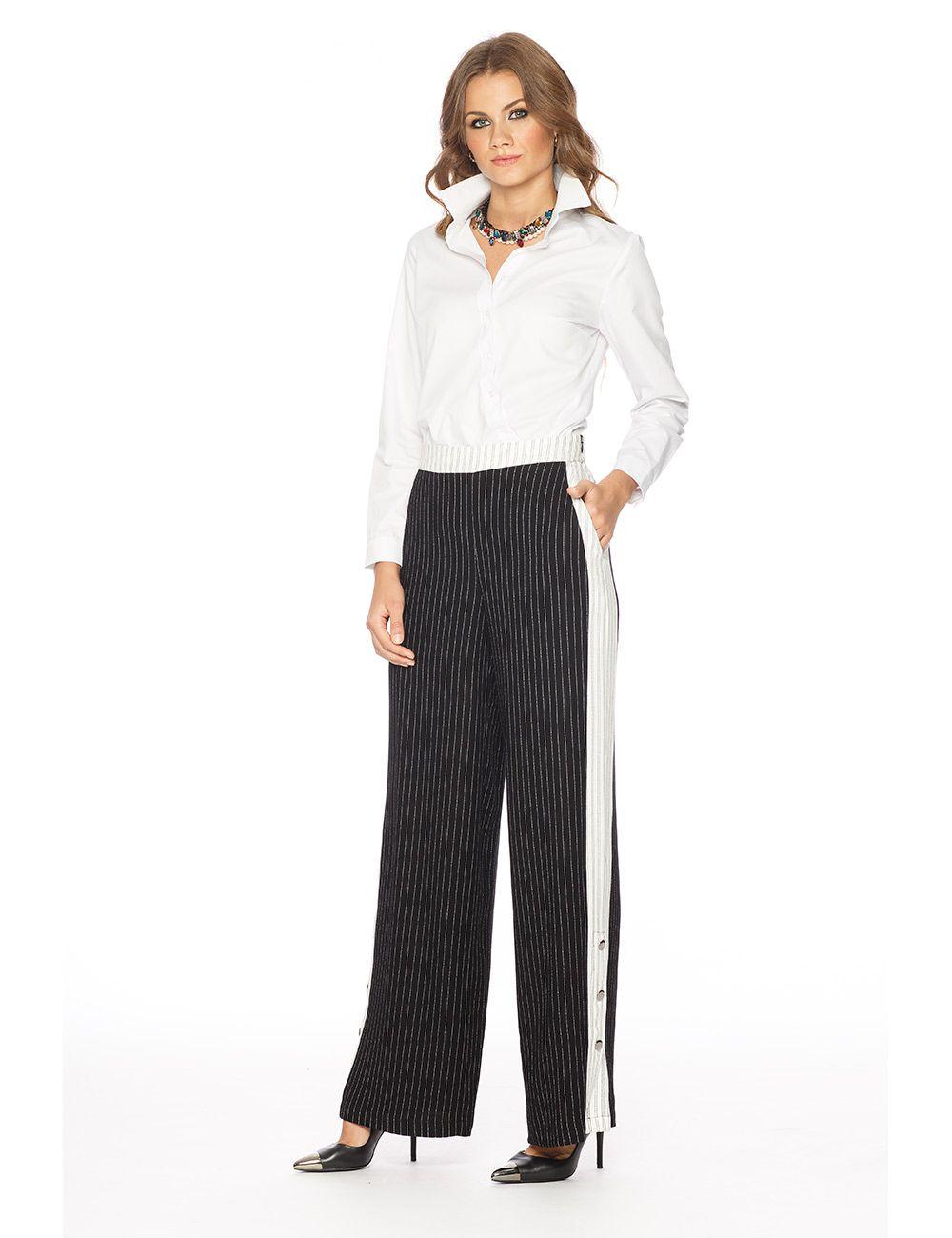 Calça Crepe de Viscose Risca de Giz Pantalona Cós Alto