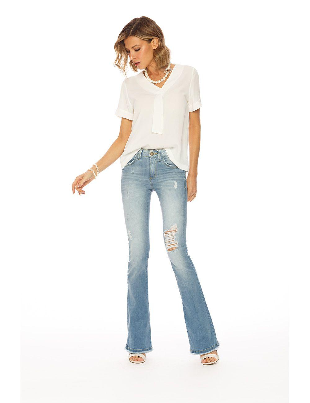 Calça jeans boot cut c/ elastano cós médio Gatos e Atos