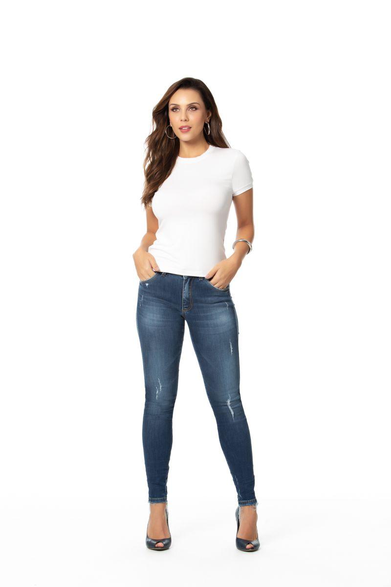 calça jeans cigarrete com elastano cós médio Gatos e Atos