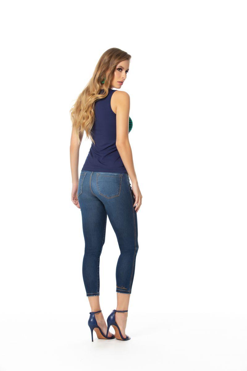 calça jeans cigarrete curta com elastano cós médio Gatos e Atos