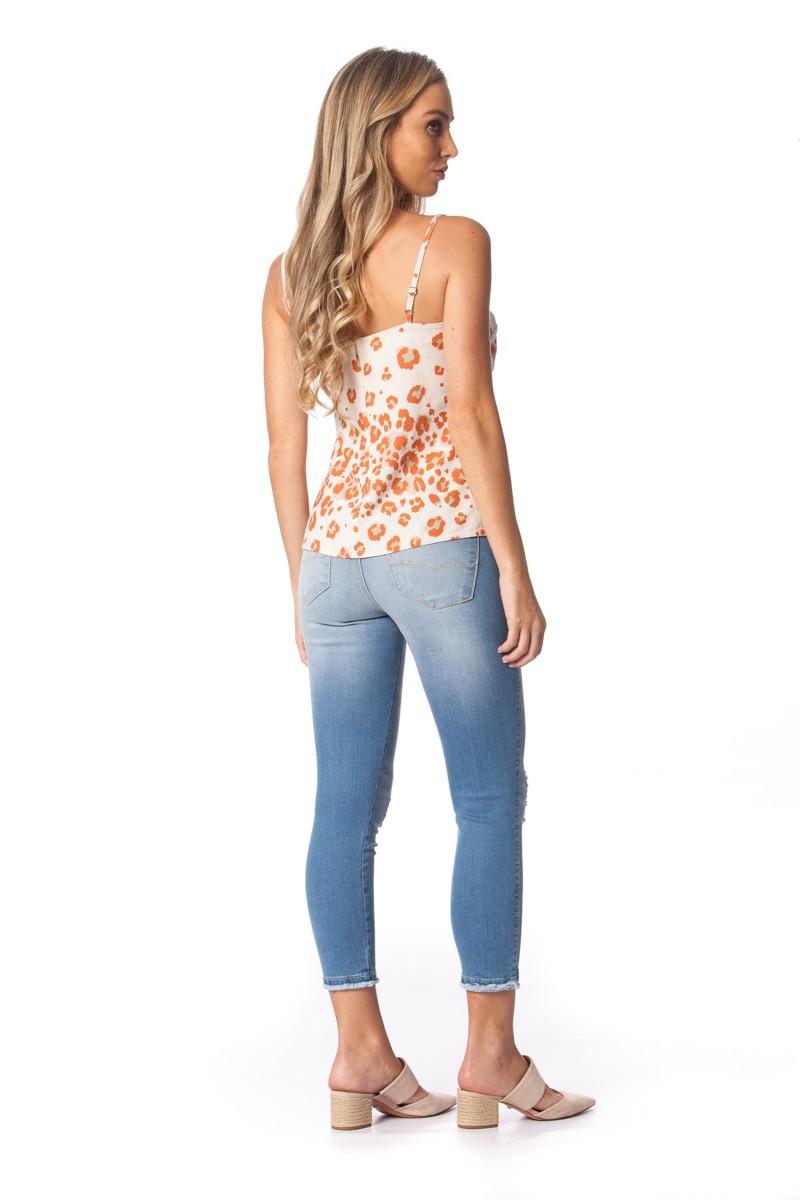 Calça jeans cigarrete curta GATOS E ATOS
