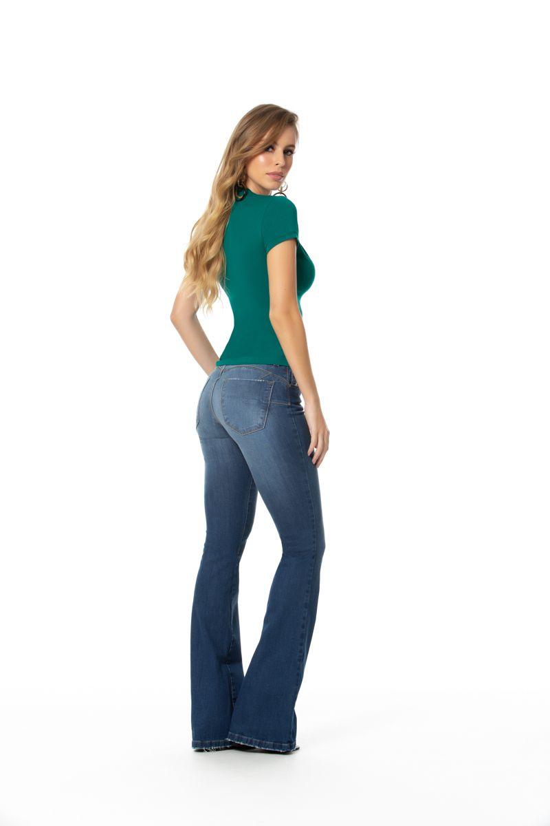 Calça jeans flare c/ elastano cós médio Gatos e Atos